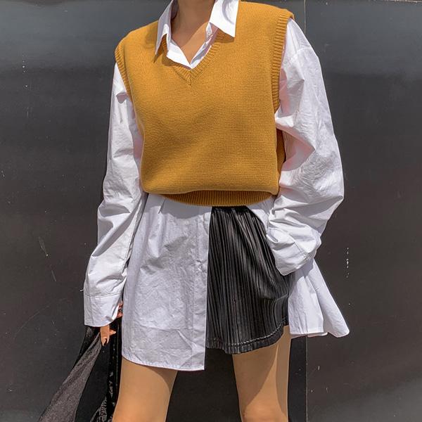 planj-멀스 브이넥 니트 베스트♡韓國女裝上衣