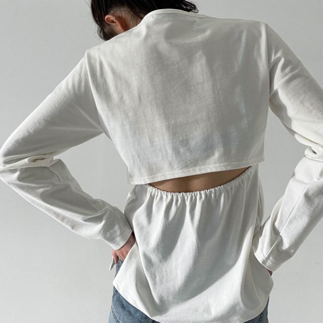 banharu-반하루[[ODOM] 백슬릿 옆트임티 - 아이보리]♡韓國女裝上衣