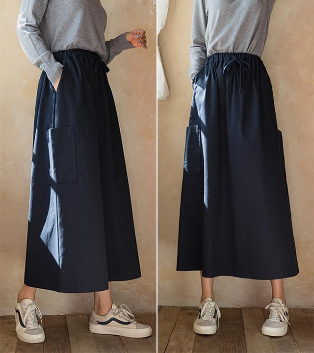 roompacker-룸페커 [레니 빅포켓 코튼 밴딩 스커트]♡韓國女裝裙