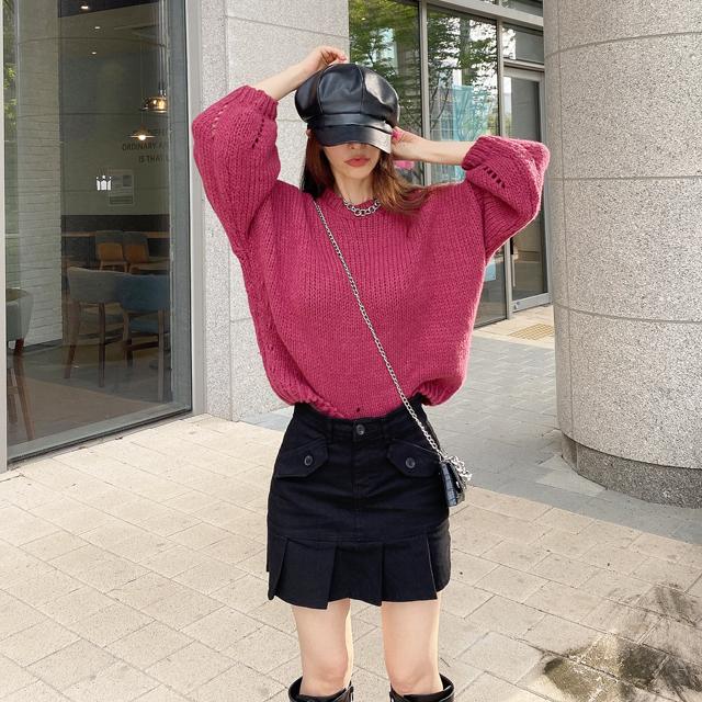 iampretty-딥컬러 벌룬 니트티♡韓國女裝上衣