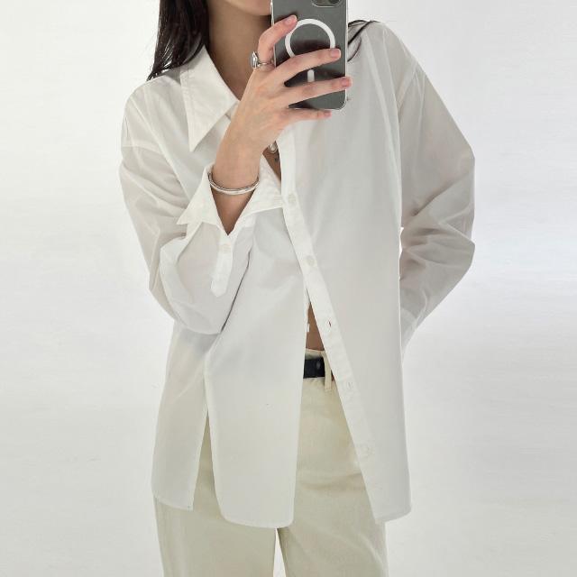 banharu-반하루[[ODOM] 와이드카라 슬릿셔츠 - 화이트]♡韓國女裝上衣