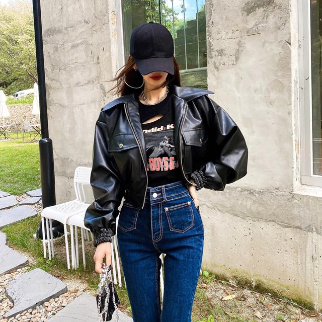 iampretty-라이딩 레더 항공점퍼♡韓國女裝外套
