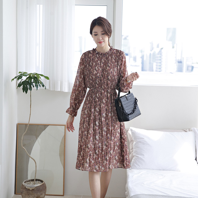 tiramisu-335프린스플라워나염쉬폰원피스♡韓國女裝連身裙