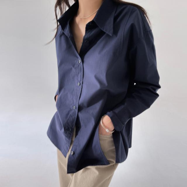 banharu-반하루[[ODOM] 와이드카라 슬릿셔츠 - 네이비]♡韓國女裝上衣