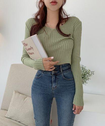 jnroh-유닐 브이넥 골지 니트 크롭티 (아이보리,올리브,블랙)♡韓國女裝上衣