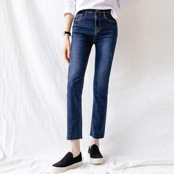 misscandy-[no.21033 슬림일자핏 밑단컷팅 데님팬츠]♡韓國女裝褲