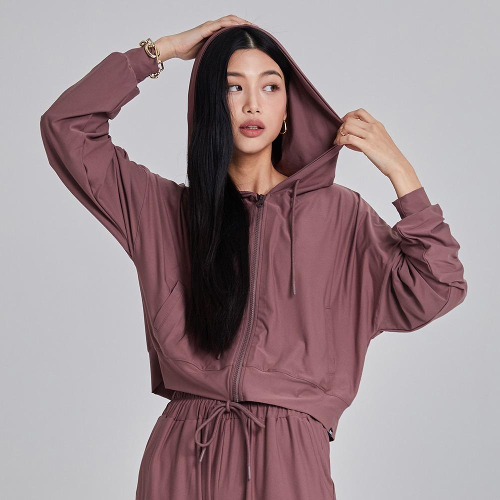 skullpig-마일드 크롭후드집업 딥핑크♡韓國瑜伽女裝上衣