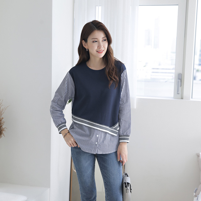 tiramisu-305밈밈체크배색남방♡韓國女裝上衣