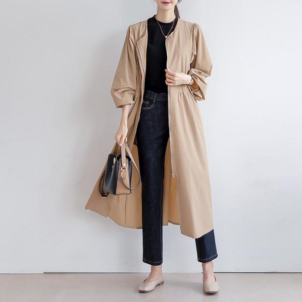 misscandy-[no.21030 허리밴딩 퍼프소매 로브자켓&원피스]♡韓國女裝連身裙