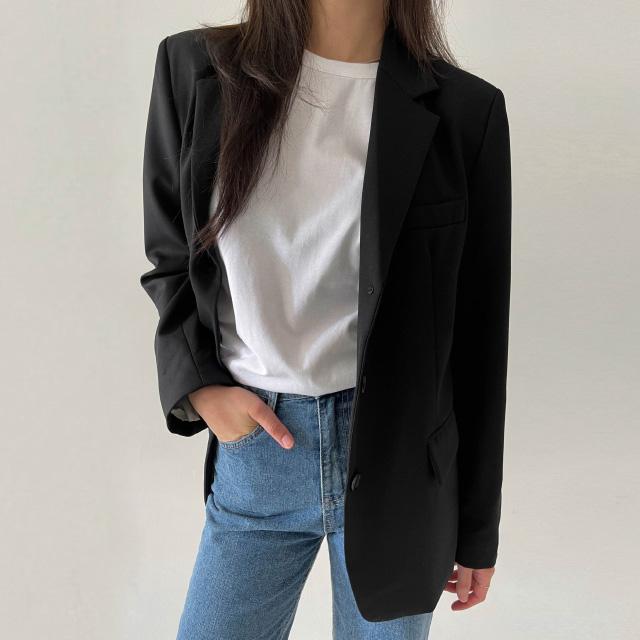 banharu-반하루[[ODOM] 3버튼 클래식 울자켓 - 블랙]♡韓國女裝外套