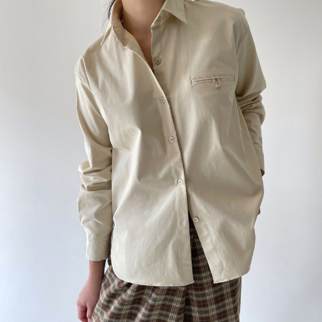 banharu-반하루[[ODOM] 플립포켓셔츠 - 베이지]♡韓國女裝上衣