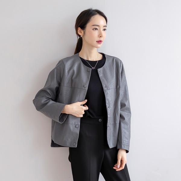 misscandy-[no.21032 노카라 사이드슬릿 레더자켓]♡韓國女裝外套