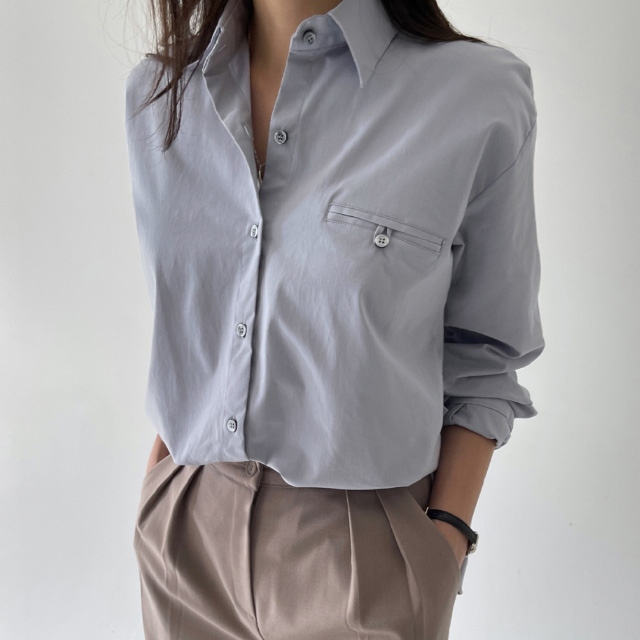 banharu-반하루[[ODOM] 플립포켓셔츠 - 스카이블루]♡韓國女裝上衣
