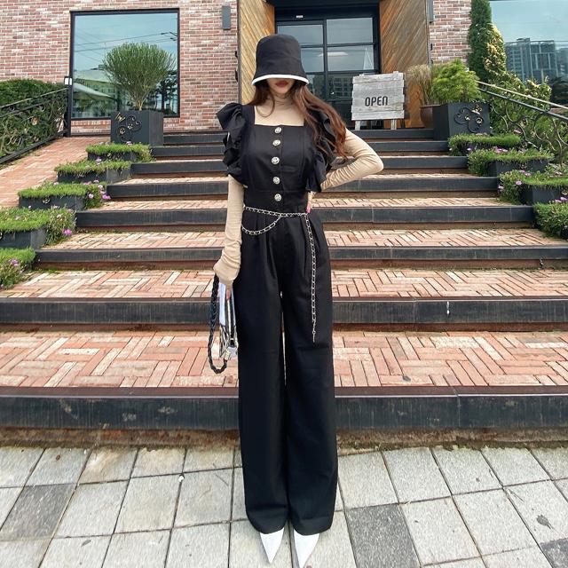 iampretty-로즐리 프릴 점프수트♡韓國女裝褲