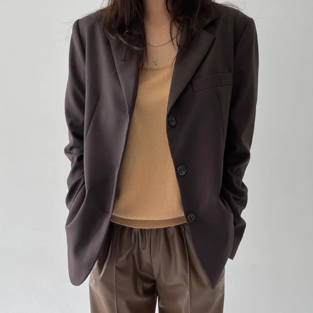 banharu-반하루[[ODOM] 3버튼 클래식 울자켓 - 브라운]♡韓國女裝外套