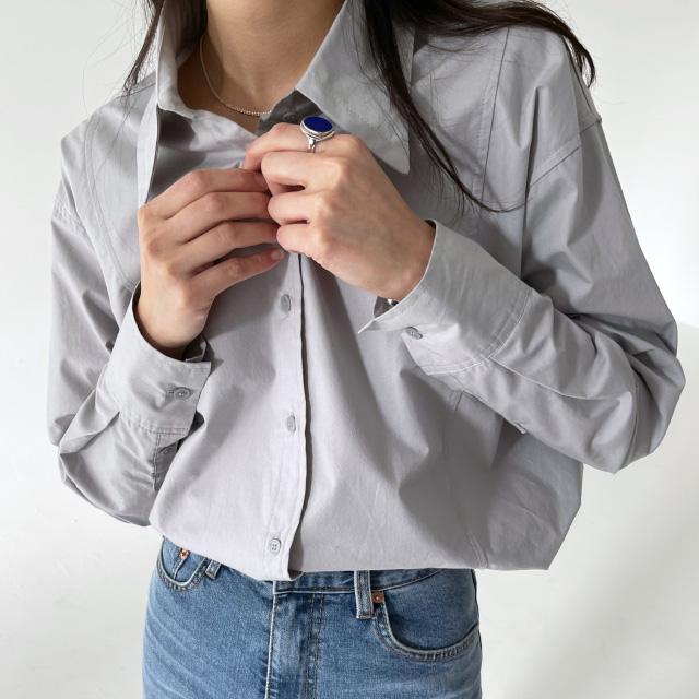 banharu-반하루[[ODOM] 와이드카라 슬릿셔츠 - 스카이블루]♡韓國女裝上衣