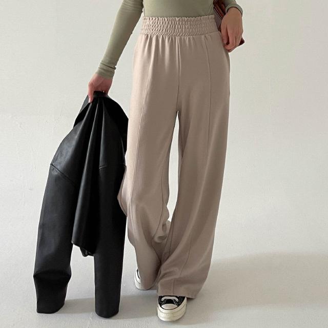 banharu-반하루[[ODOM] 와이드 밴딩팬츠 - 베이지]♡韓國女裝褲