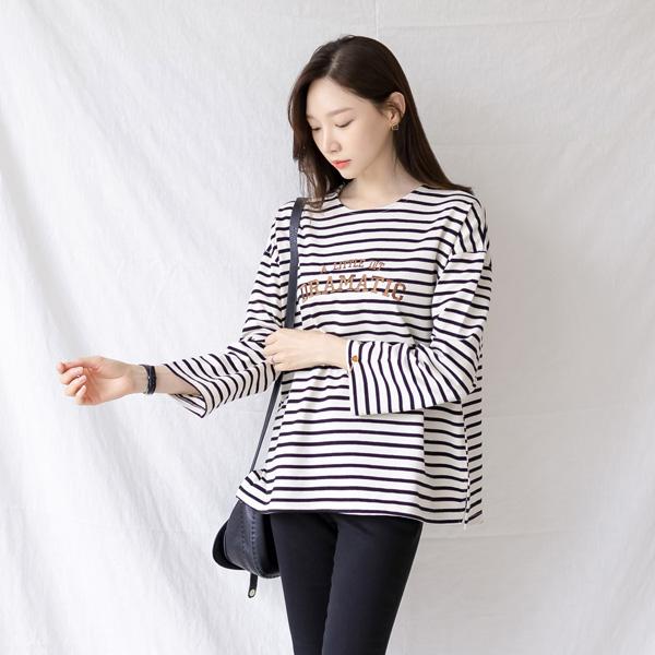 misscandy-[no.21028 레터링자수 스트라이프 티셔츠]♡韓國女裝上衣
