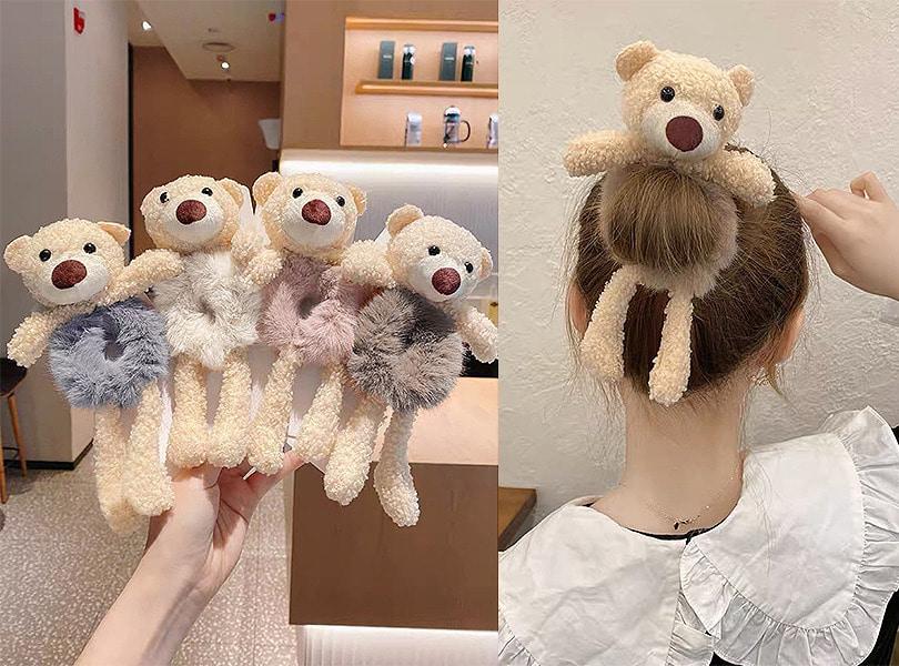 uuzone-쁘띠곱창퍼머리끈 인형 곰돌이 토끼 퍼곱창 헤어밴드♡韓國女裝飾品