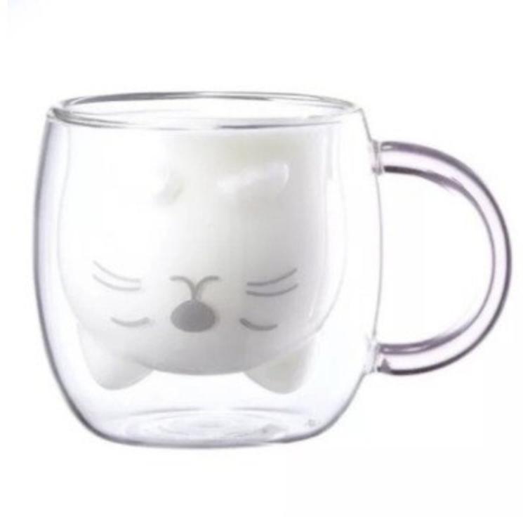 家用可愛雙層隔熱玻璃牛奶泡茶咖啡杯-小貓款