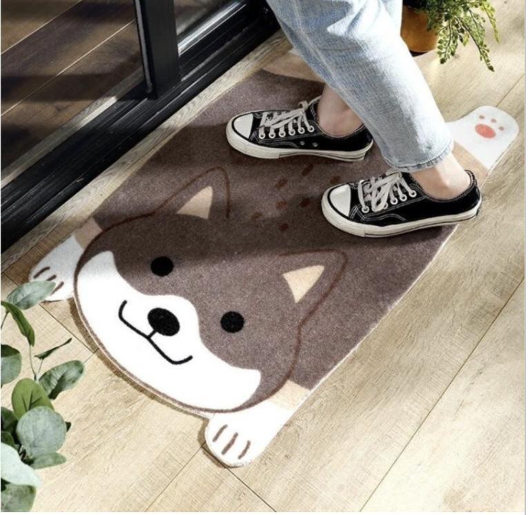 Super Size家居日系卡通防滑吸水地毯-柴犬(45*75)【可機洗·雙層設計】