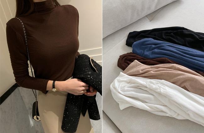 minsshop-(민스샵제작)흐르는 반폴라 울티셔츠 (주문폭주!)♡韓國女裝上衣