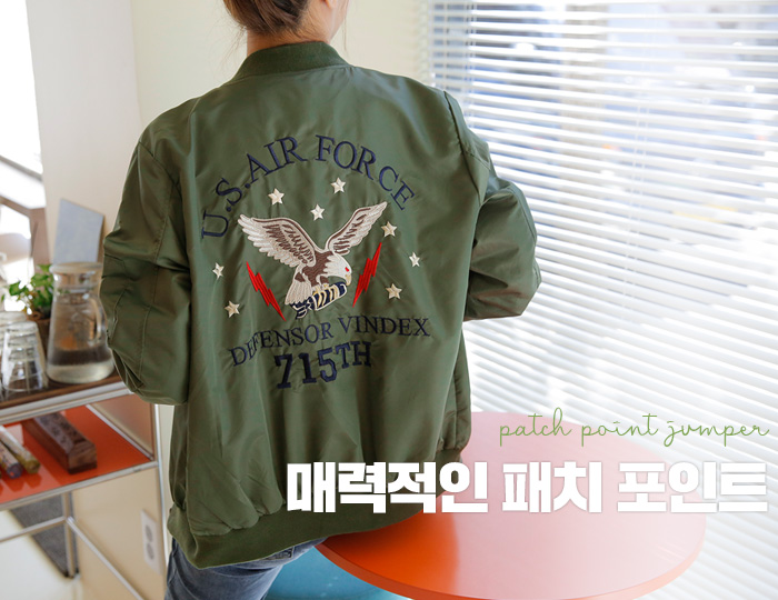 pinksisly-이글 패치 항공점퍼♡韓國女裝外套