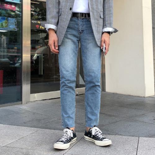 modernsweet-레이블 워싱 데님 팬츠 (S~XL) - 모던스윗(modernsweet)♡韓國男裝褲子