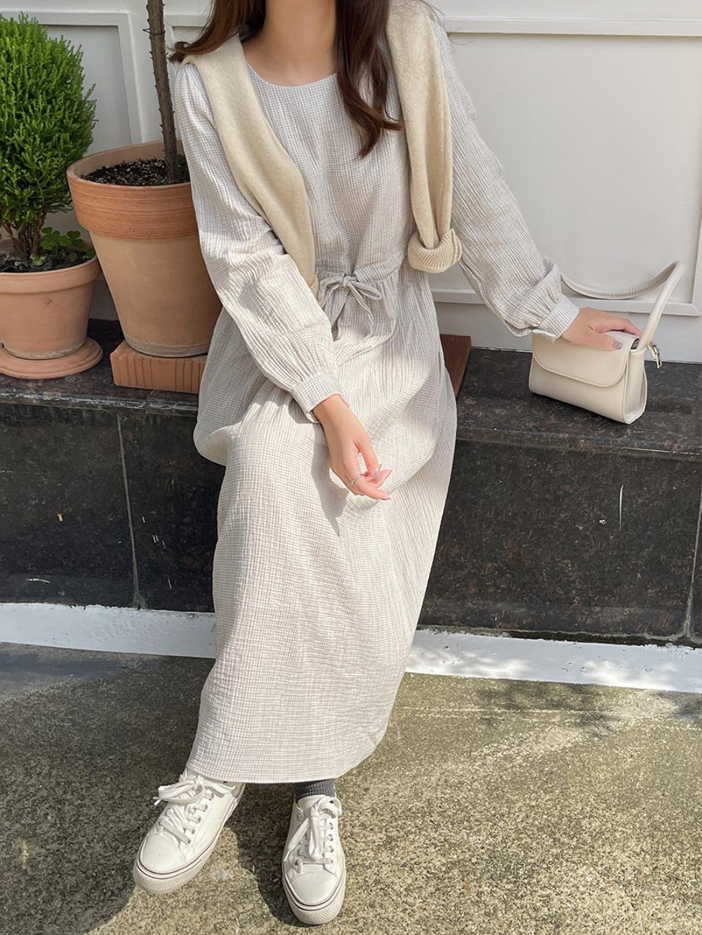 k-club-[자체제작]휴즈 체크 스트링 원피스♡韓國女裝連身裙