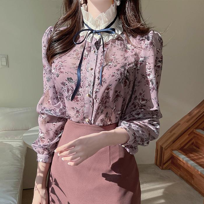 myfiona-퍼플 로즈플라워 리본프릴 블라우스 a1831 - 러블리 로맨틱 1위 쇼핑몰 피오나♡韓國女裝上衣