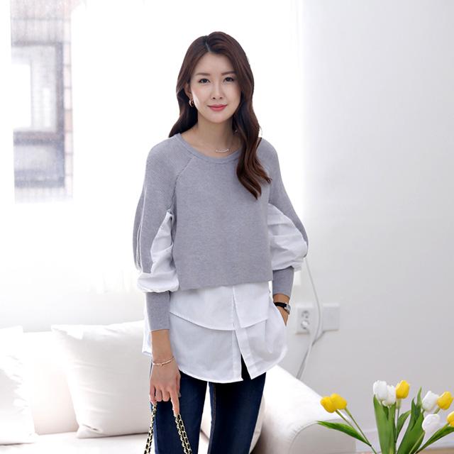 tiramisu-354베리트배색셔츠♡韓國女裝上衣