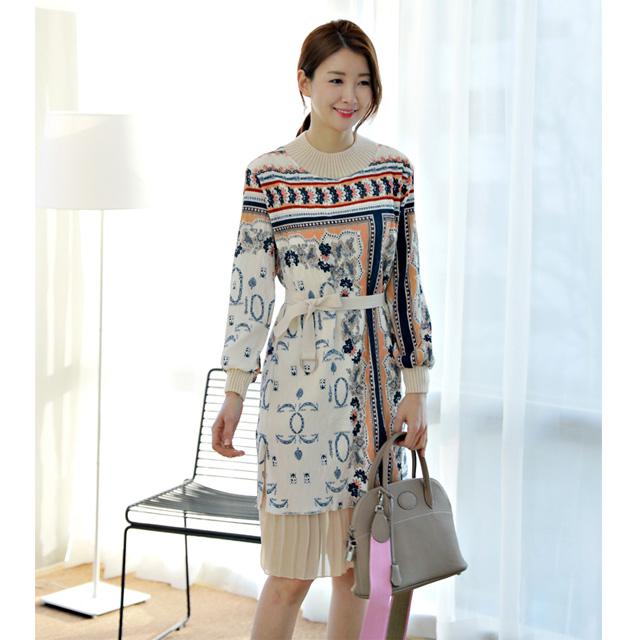 tiramisu-1845아코디언나염주름배색원피스♡韓國女裝連身裙