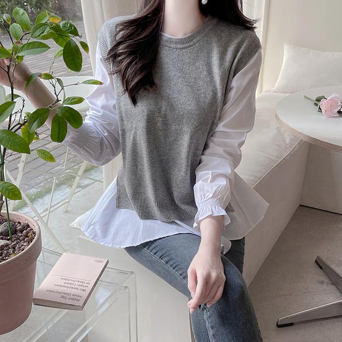 myfiona-(2종세트) 언발블라우스와 트임니트세트 a1834 - 러블리 로맨틱 1위 쇼핑몰 피오나♡韓國女裝上衣套裝