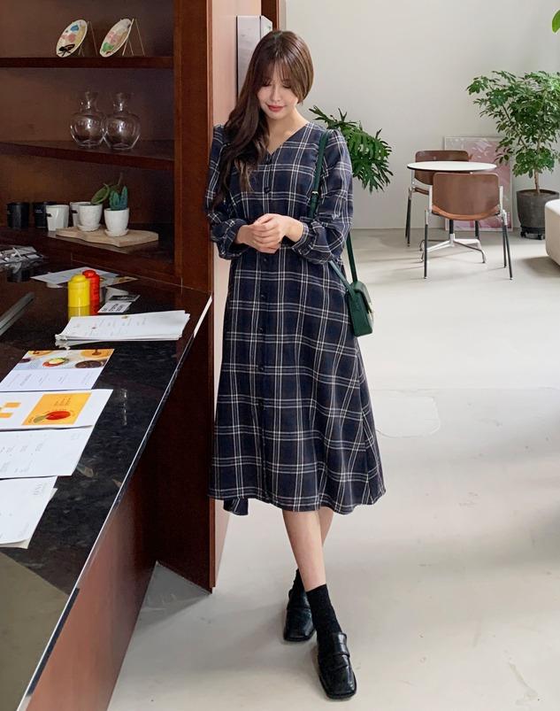 loloten-빌리체크 원피스♡韓國女裝連身裙