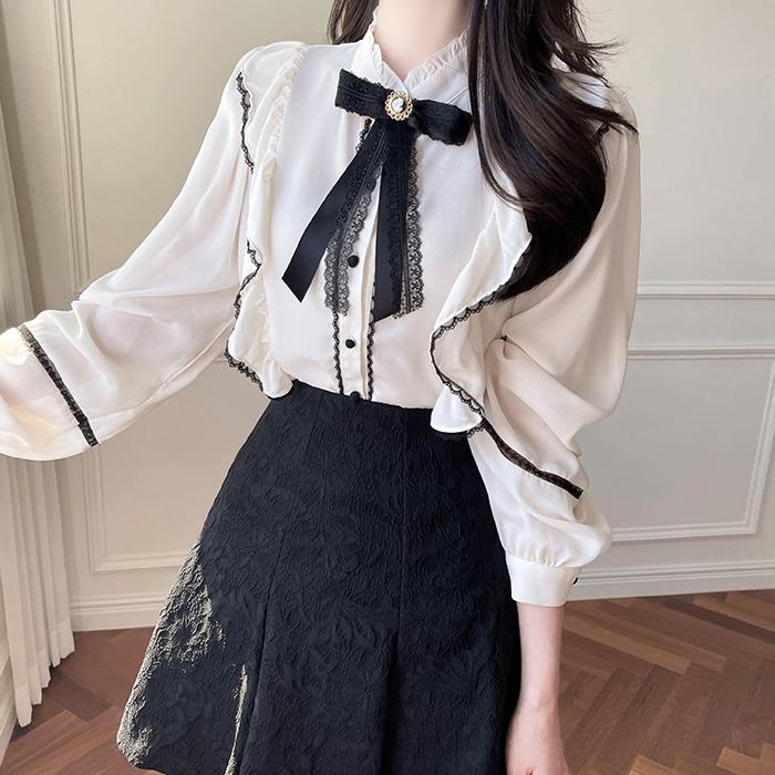 myfiona-(비너스리본브로치세트) 차이나카라 프릴 블라우스 a1828 - 러블리 로맨틱 1위 쇼핑몰 피오나♡韓國女裝上衣