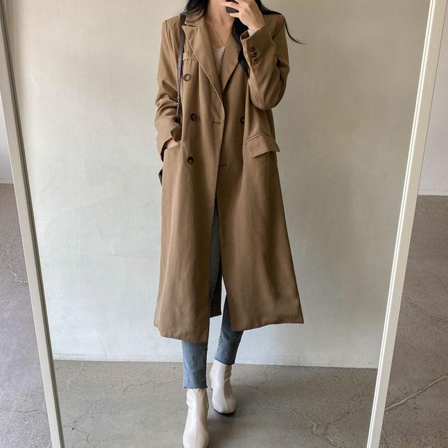 sonyunara-카린 카라넥 더블 트임 롱 코트♡韓國女裝外套