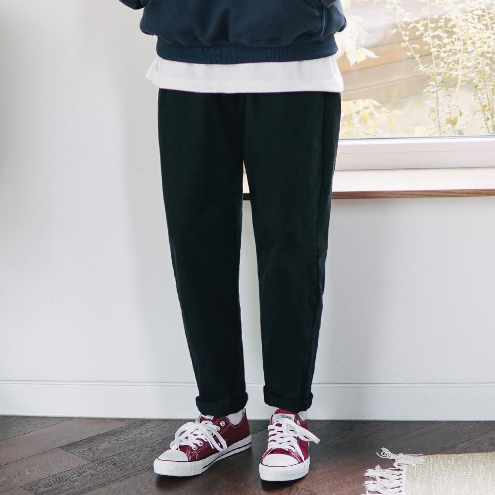 fairplay142-[디어 소프트 워싱 밴딩팬츠 블랙 KJLP2392]♡韓國男裝褲子