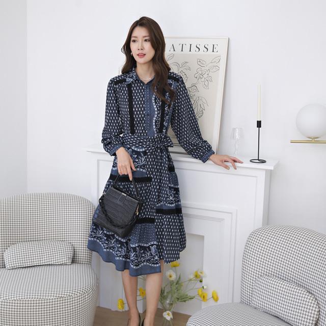 tiramisu-371마름모카라언발원피스♡韓國女裝連身裙