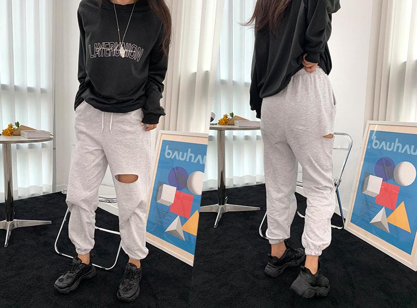 uuzone-무심한듯 포인트되는 컷팅 디자인! 커트조거팬츠 밴딩 롱 트임 섹시 클럽 캐쥬얼 조거팬츠 밴딩팬츠 섹시팬츠 데일리팬츠 꾸안꾸룩 캐쥬얼룩♡韓國女裝褲