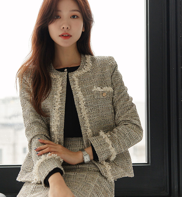 justone-로코 노카라 스판 트위드자켓♡韓國女裝外套