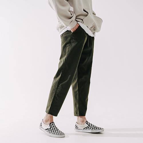 fairplay142-[[더블유브이프로젝트] 플레인 코튼 밴딩 팬츠 카키 CJLP7432]♡韓國男裝褲子