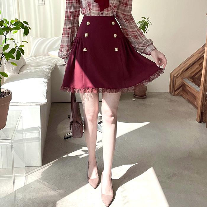 myfiona-앙두 양주름 진주버튼 스커트 a1837 - 러블리 로맨틱 1위 쇼핑몰 피오나♡韓國女裝裙