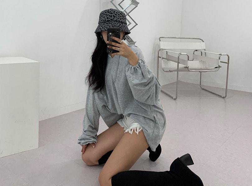 uuzone-예쁜 여리핏 어필하는 롱후드티! 셔링퍼프후드티 후드티 퍼프티 롱티 후드원피스 박스티 박시핏 데일리룩 꾸안꾸룩 데일리룩 가을신상♡韓國女裝上衣