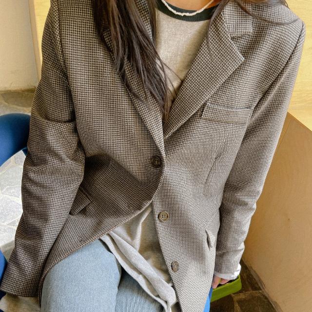 banharu-반하루[브라우니 하운드체크 자켓]♡韓國女裝外套