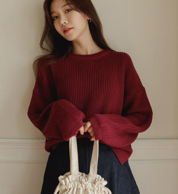 justone-토룬 옆트임 컬러 하찌니트♡韓國女裝上衣