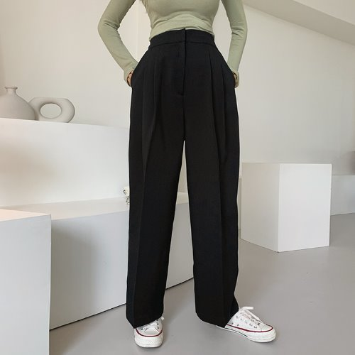 jnroh-(뒷밴딩) 아바 투턱 와이드 일자 슬랙스 팬츠 (모카,블랙)-셋업 세트별도구매-♡韓國女裝褲