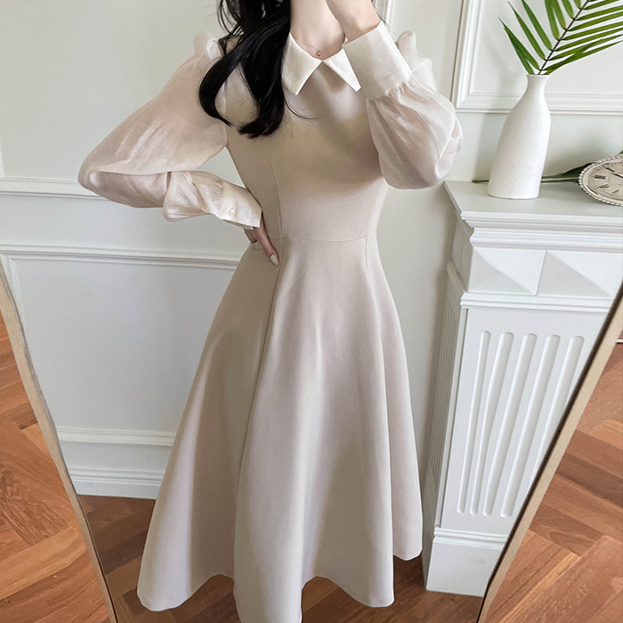 myfiona-블레스 카라블라우스 일체형 원피스 a1830 - 러블리 로맨틱 1위 쇼핑몰 피오나♡韓國女裝連身裙