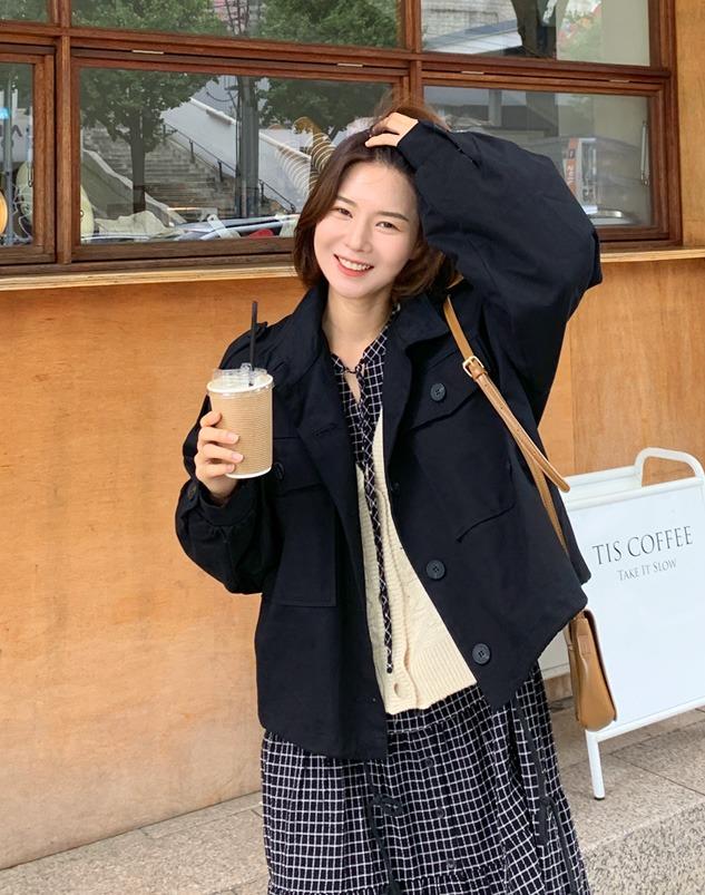 loloten-파콜 버튼 숏야상♡韓國女裝外套