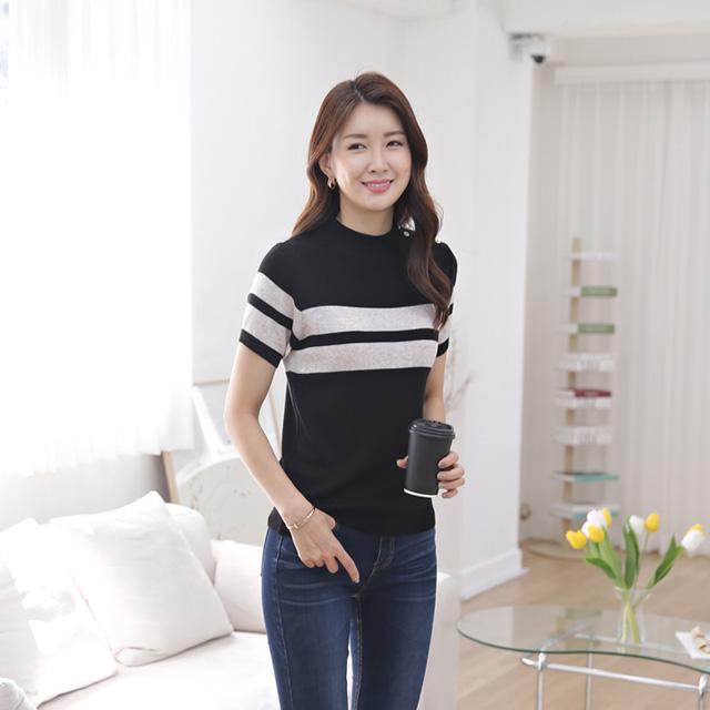 tiramisu-357더블어깨단추반팔니트♡韓國女裝上衣