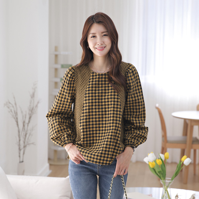tiramisu-343바바체크블라우스♡韓國女裝上衣